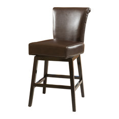 Gdfstudio Bergen Dark Brown Leather Swivel Counter Stool Bar Stools And