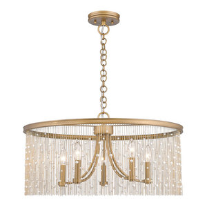 "Golden Lighting 1771-5 PRL Marilyn 5 Light 25"" Wide Taper Candle Chandelier wit"