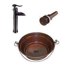 "15"" Round Copper Bucket Vessel Bath Sink With 13"" Pump Faucet & Daisy Drain"