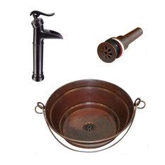 "15"" Round Copper Bucket Vessel Bath Sink With 13"" Pump Faucet & Daisy Drain"