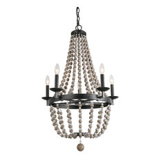 Farmhouse 5-Light Wood Bead Chandeliers Candle Bulb Style,Empire Chandelier