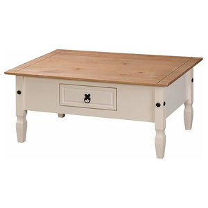 Traditional Coffee Table, White Painted Solid Wood With Oak Top and Drawer