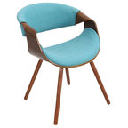 Mid Century Fabric And Bent Wood Accent Chair Gray