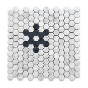 "Carrara White 1"" Hexagon With Black Marble Snowflake Pattern Mosaic Tile Honed"