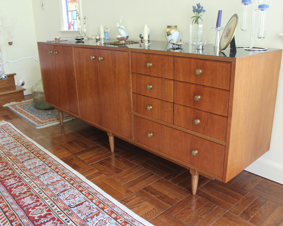 Attractive European Mid Century Modern Dining Room Furniture/Floating Hutch