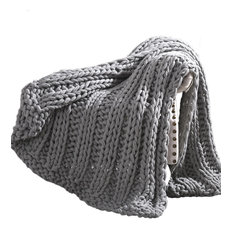 Dreux Acrylic Cable Knitted Chunky Throw The Urban Port, Gray