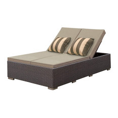 SOLIS Benitto Double Chaise Lounger Sun Chair, Beige Cushions