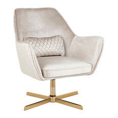 LumiSource Diana Lounge Chair, Gold Metal and Cream Velvet