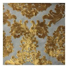 Florence Palace Damask Velvet Upholstery Fabric, Antique Gold
