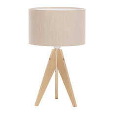 Artist Tripod Table Lamp With Wood Base, Natural Linen and Cotton Shade