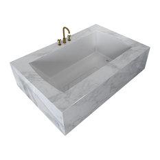 "Ovo Contemporary White Rectangular Acrylic Undermount Bath Tub 66""x36"", White"