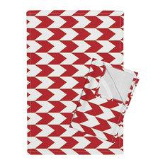 Red Striped Linen Cotton Tea Towels, Set of 2
