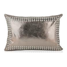 Tarak, Gunmetal Pillow, Metallic Gunmetal, 14x16
