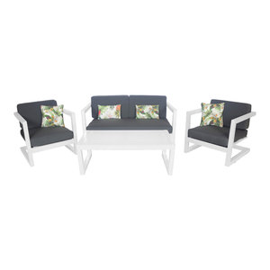 Outdoor 4-Piece Alhama Furniture Set With 2-Seater Sofa, White