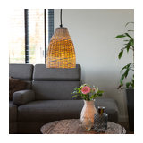 Country Pendant Lamp 20cm Rattan with White and Iron Frame - Burn