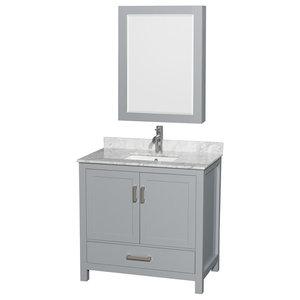 "Sheffield 36"" Single Vanity, Gray, Carrera Marble Top, Undermount Square Sink"