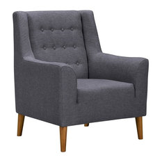 Nubia Mid-Century Accent Chair, Champagne Wood Finish and Dark Gray Fabric