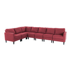 GDFStudio   Bridger 7 Piece Deep Red Fabric Sectional Couch   Sectional  Sofas