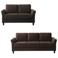 Transitional 2 Piece Sofa and Loveseat Set in Coffee