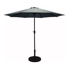 Pebble Lane Living   Premium Market Outdoor Patio Umbrella, Crank And Tilt,  Slate