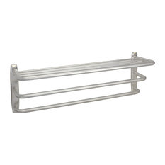 FPL Oversized Hotel Towel Rack & Shelf, Brushed Stainless Steel