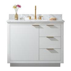 "Brady Mid-century Bathroom Vanity with Sink, Carrara White Top, White, 42"""