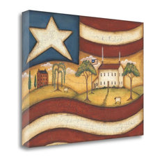 """""""Folk Flag II"""" By Kim Lewis, Giclee Print on Gallery Wrap Canvas, Ready to Hang"""