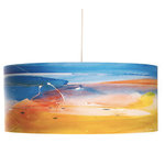 """""""Last Light"""" Art Drum Pendant - Colorful artwork drum pendants Last Light by Californian artist Rowan Chase. These unique lamps are constructed on white powder coated lampshade rings with Rowan Chase artwork. 100% Cotton Velvet Watercolor paper, a white 10 foot cord with porcelain fixture and white ceiling canopy. Lamps come assembled and ready for installation. They are handmade in California one shade at a time by Rowan Chase himself in his studio. Available in four sizes from 8"""" to an amazing 24"""" centerpiece which completely changes your dining, bed or living room! All shades are 9"""" tall."""