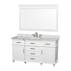 "Wyndham Collection - Berkeley 60"" Vanity, Round Sink, White, White Carrera Marble, 56"" Mirror - Bathroom Vanities and Sink Consoles"