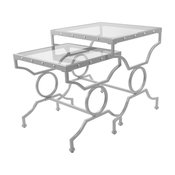 Nesting Table, 2-Piece Set, Silver With Tempered Glass