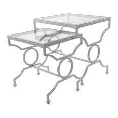 Monarch 2 Piece Square Nesting Tables in Satin Silver with Glass Top