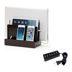 High Gloss Cherry Multi-Device Charging Station, With Usb Power Strip