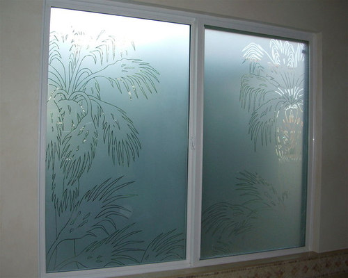 Palm Fronds Bathroom Windows Frosted Gl Designs Privacy