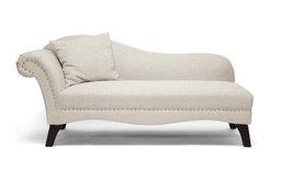 Phoebe Linen Chaise Lounge, Beige