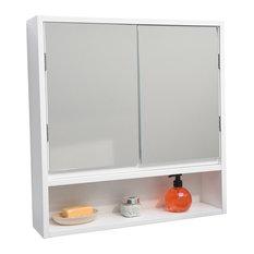 Wall Mounted Mirrored Medicine Cabinet Miami White 2 Doors 1 Shelf