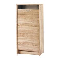 Oak-Coloured Shoe Cabinet