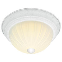 2-Light Traditional Flush Mount, Textured White, 15.25""