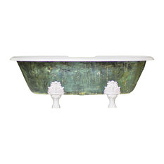 "New Double Ended 72"" Cast Iron Clawfoot Tub Antiqued Freestanding, Havisham"