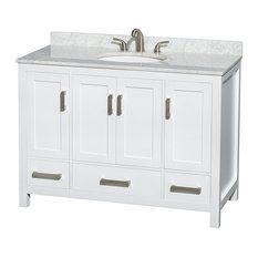 """Sheffield 48"""" White Single Vanity With Carrera Marble Top, Undermount Oval Sink"""