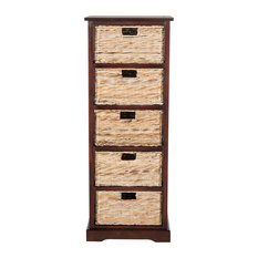 Safavieh Vedette 5-Wicker Basket Storage Tower, Cherry
