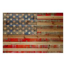 """American Dream"" Wall Art, 36""x24"", Natural Pine Wood"