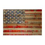 """American Dream"" Wall Art, 45""x30"", Natural Pine Wood"