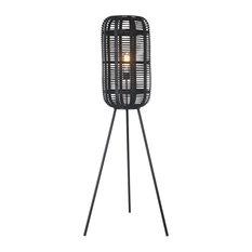 "Metal 54"" Floor Lamp With Rattan Shade, Black"