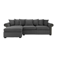 Delicieux Sofamania   Traditional Modern L Shape Sectional Sofa, Velvet Fabric, Dark  Gray