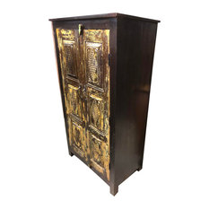 Consigned, Antique Beautiful Cabinet Armoire Two-Shelf Vintage Indian Furniture