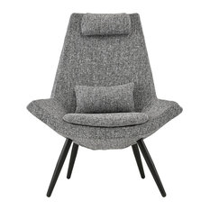 Sofamania - Contemporary Accent Arm Chair, Linen Upholstered, Light Gray - Armchairs and Accent Chairs