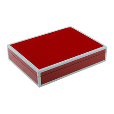 Lacquer Long Stationery Box Box, French Red w/Gray Trim