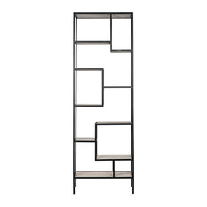 102-inch T Asymmetric Bookcase Metal Frame With White Quartz Stone Shelves Modern