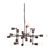 18 Light Industrial Steamer Pipe Style Ceiling Pendant, Rust