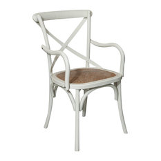 Thonet Solid Wood Armchair, Antique White